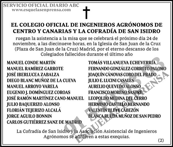Colegio Oficial de Ingenieros Agrónomos de Centro y Canarias y la Cofradía de San Isidro
